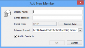 add contact group to Outlook