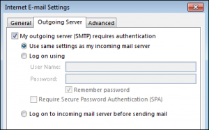 Use same settings as my incoming mail server