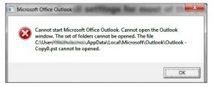 unable to open outlook window