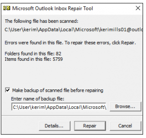 recover outlook data files