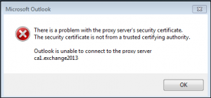 outlook is unable to connect to proxy server