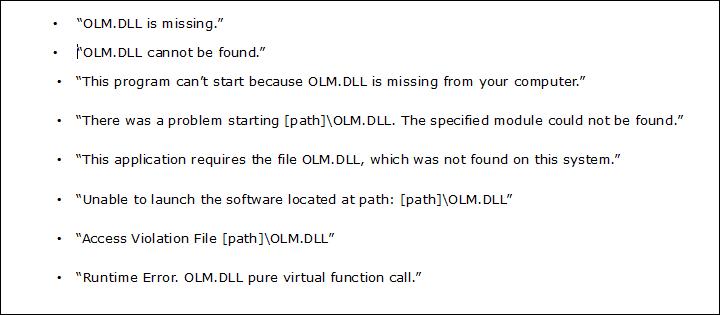 olm.dll not found
