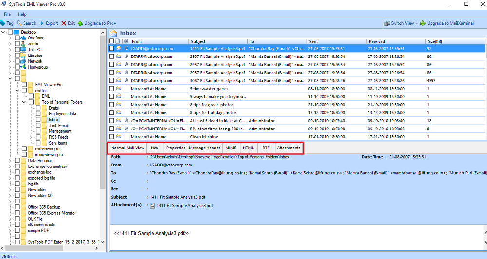 Conversion EML to PDF