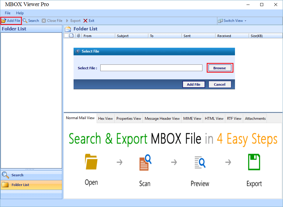 Add File to export MBOX to PDF
