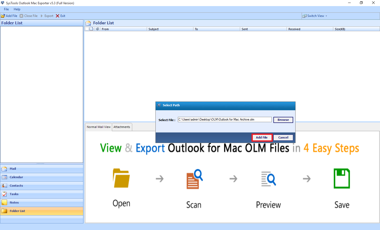 add file option by olm to outlook converter