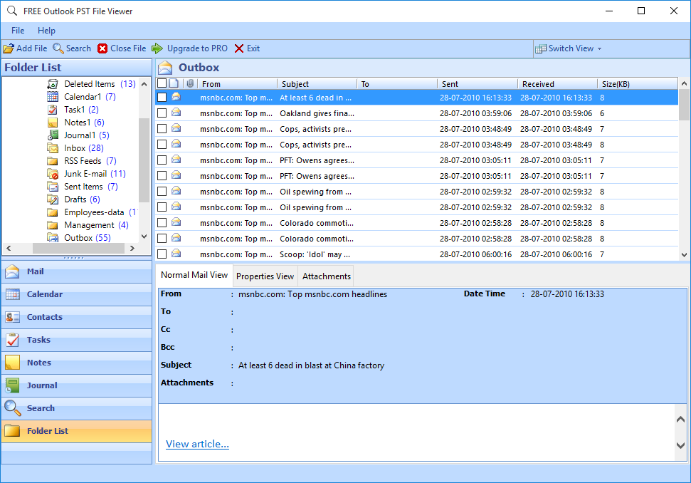 Free PST File Reader full screenshot