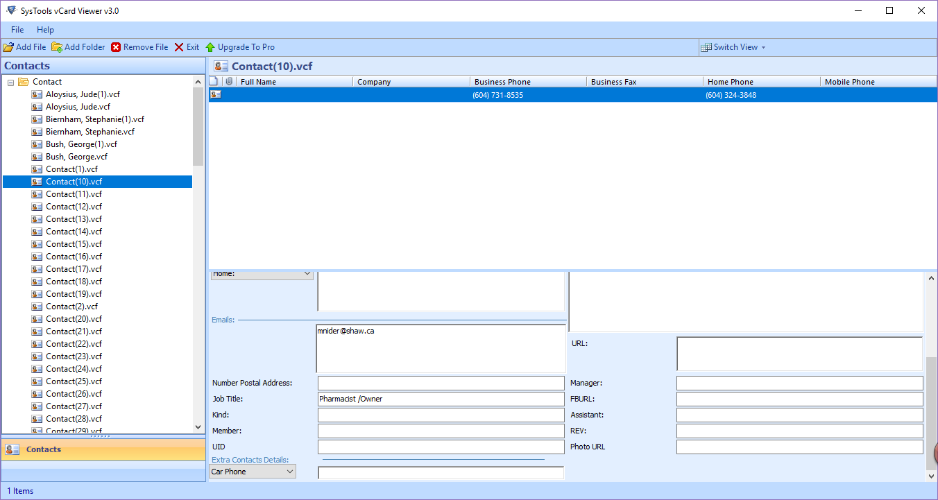 VCF Contact Viewer Tool