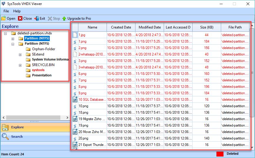 VHD File Explorer